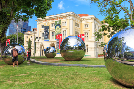 Singapore - December 4,2016: Art displayed in front of Asian Civilisations Museum. Editorial