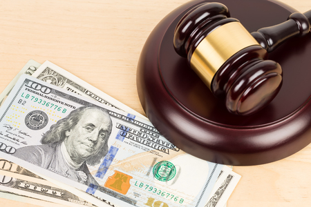 Judge wooden gavel with dollar money banknote concept for bribery Stock fotó