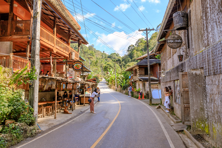 Chiang Mai, Thailand - January 10, 2018: Mae Kampong, village in valley, famous eco-tourism and home stay destination. Banco de Imagens