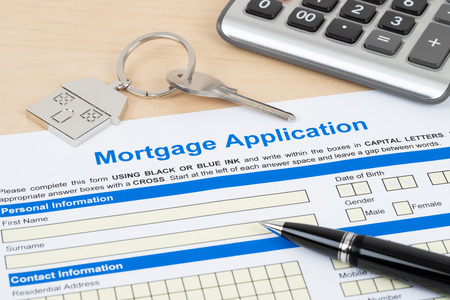 Mortgage application form, financial concept 스톡 콘텐츠