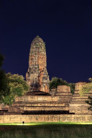 Wat Phra Ram temple light up at night Ayutthaya