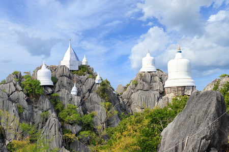 Floating pagoda on peak of mountain at Wat Chaloem Phra Kiat (Phra Bat Pupha Daeng) temple in Chae Hom district, Lampang, Thailand