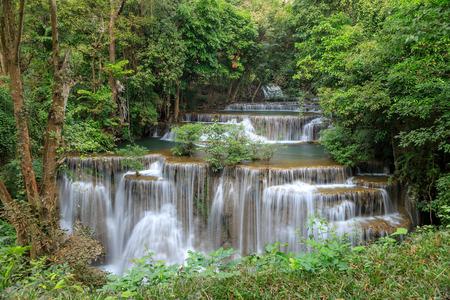 Huai Mae Khamin Waterfall tier 4, Khuean Srinagarindra National Park, Kanchanaburi, Thailand Stock Photo