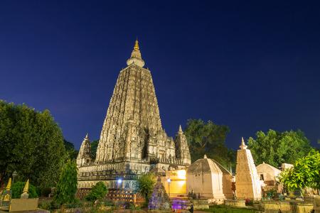 Mahabodhi temple at night, bodh gaya, India. The site where Gautam Buddha attained enlightenment. Stok Fotoğraf