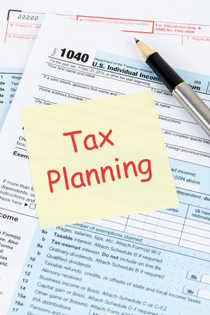 Individual income tax returm form by IRS, concept for taxation planning Stock Photo