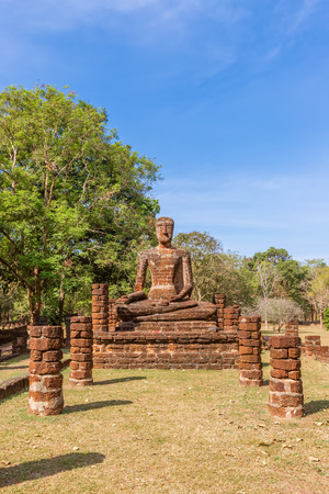 Sitting Buddha statue at Wat Sing temple in Kamphaeng Phet Historical Park