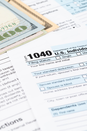 Individual income tax returm form by IRS, concept for taxation