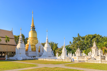 Pagodas at Wat Suan Dok Temple in Chiang Mai, North of Thailand Stock Photo