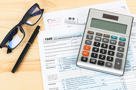 Individual income tax returm form by IRS, concept for taxation Stock Photo