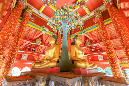 Lampang, Thailand - December 28, 2018: Four Buddha sculpures in pavilion at Wat Pong Sanuk temple and museum in Lampang, North of Thailand