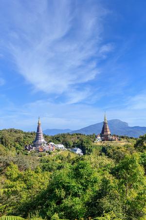 Noppamethanedon and Nopphonphusiri pagodas view from Kew Mae Pan nature trail, Doi Inthanon National Park, Chiang Mai, Thailand