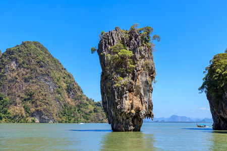 Amazing and beautiful Tapu or James Bond Island, the most famous tourist destination in Phang-Nga Bay, near Phuket, Thailand