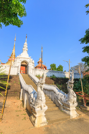 Naga staircase to Wat Pong Sanuk temple, Lampang, North of Thailand