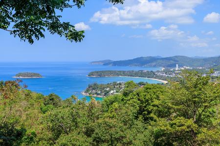 Aerial scenic view over beautiful Andaman sea and 3 bays at Karon Viewpoint, Phuket, Thailand Stock Photo