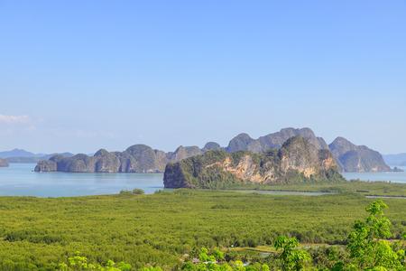Beautiful Phang-Nga bay scenery from Samet Nangshe or Ao Tho Li Viewpoint, Thailand