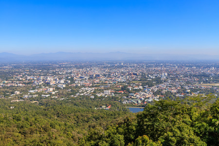 Aerial view of Chiang Mai city from Doi Suthep 版權商用圖片