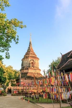 Golden pagoda at Wat Lok Moli Temple in Chiang Mai, North of Thailand Banco de Imagens