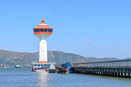 Lighthouse on Andaman sea, custom and immigration office at border to Myanmar, Ranong, Thailand Imagens