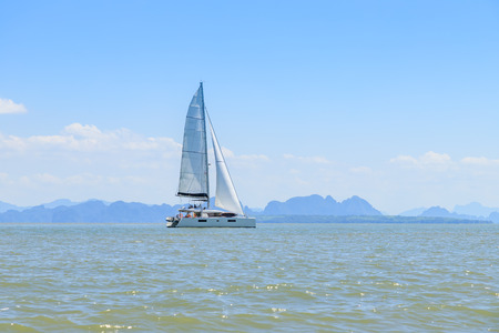Yacht sailing in Phang-Nga Bay, near Phuket, Thailand
