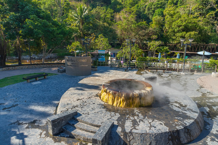 Ranong, Thailand - February 19, 2019: Famous hot spring well in Raksa Warin public park. Editorial