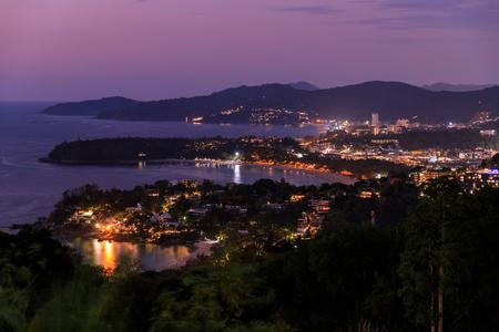 Aerial scenic view over beautiful Andaman sea and 3 bays at Karon Viewpoint, Phuket, Thailand