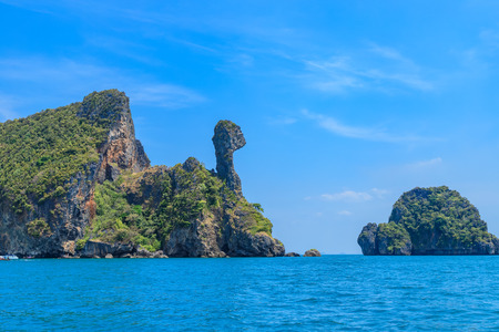 Beautiful amazing shape rock mountain cliff at Chicken Island; Ao Phra Nang bay, Krabi, Thailand