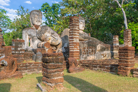 Group of Buddha statues at Wat Phra Kaeo temple in Kamphaeng Phet Historical Park