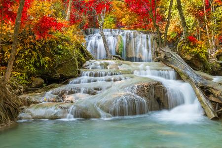Erawan Waterfall tier 2, in National Park at Kanchanaburi, Thailand 写真素材