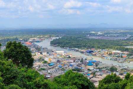 Pak Nam Chumphon town, urban, river, and bay from Khao Matsee Viewpoint Stok Fotoğraf - 123250330