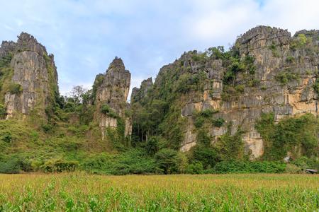 Beautiful limestome mountain range at Ban Mung Village, Noen Maprang District, Phitsanulok, Thailand