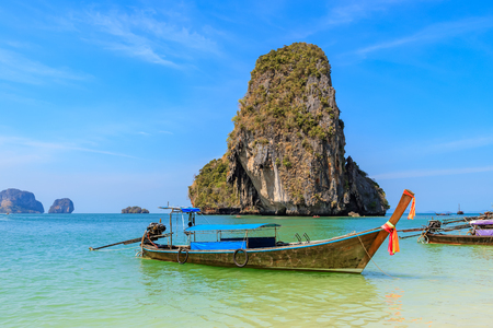 Beautiful clear turquoise blue sea and boats at Ao Phra Nang near Railay beach, Krabi, Thailand