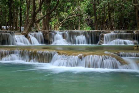 Huai Mae Khamin Waterfall tier 2, Khuean Srinagarindra National Park, Kanchanaburi, Thailand Stock Photo