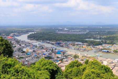 Pak Nam Chumphon town, urban, river, and bay from Khao Matsee Viewpoint Stok Fotoğraf - 123252354