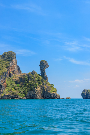 Beautiful amazing shape rock mountain cliff at Chicken Island; Ao Phra Nang bay, Krabi, Thailand