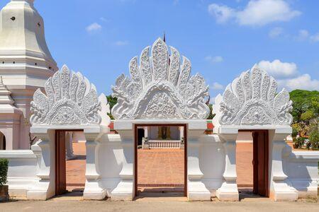 Main entrance gate at Wat Phra Borommathat Chaiya Worawihan, Surat Thani Stock Photo