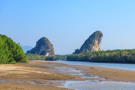Khao Khanab Nam mountain and river, Krabi city landmark, Thailand