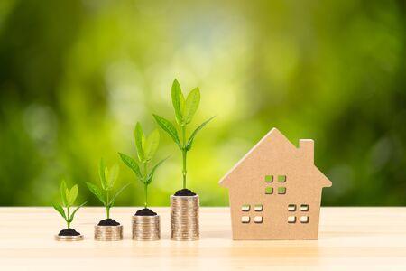 Pile de pièces et maison modèle sur un bureau en bois sur fond d'arbre vert, concept d'hypothèque Banque d'images