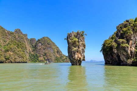 Amazing and beautiful Tapu, the most famous tourist destination in Phang-Nga Bay, near Phuket, Thailand