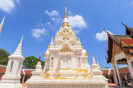 Buddha relic pagoda stupa at Wat Phra Borommathat Chaiya Worawihan, Surat Thani Stock Photo
