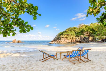 Clear turquoise blue sea and beach beds at Bo Thong Lang Bay, Bang Saphan district, Prachuap Khiri Khan, Thailand Stok Fotoğraf