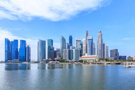 Marina Bay and Financial district with skyscrapers office business building, Singapore Stock Photo