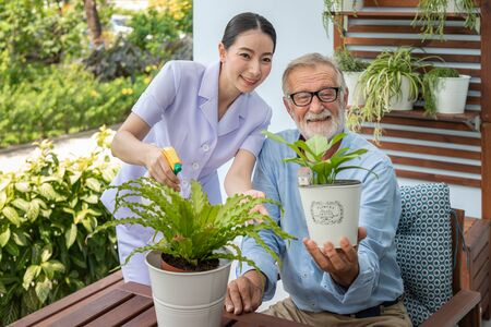 Caregiver help assist senior old man eldery puring water and taking care small tree on table looking camera
