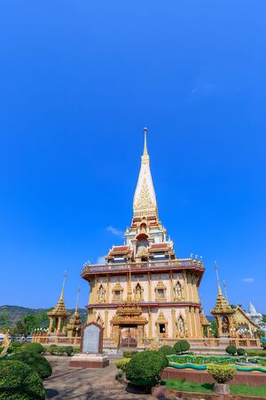 Pagoda at Wat Chaitharam or Chalong Temple. The most famous and important temple in the province.
