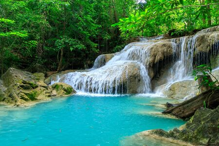 Waterfall level 1, Erawan National Park, Kanchanaburi, Thailand; high shutter speed, freeze, no motion Stockfoto