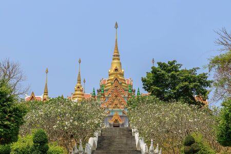 Stairway to Phra Mahathat Chedi Phakdee Prakat Pagoda on top of mountain at Baan Grood, Prachuap Khiri Khan, Thailand