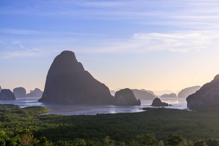 Beautiful Samet Nangshe viewpoint over Phnag-nga Bay scenic in morning, with mangrove forest and mountains in Andaman sea, near Phuket, Thailand