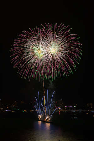 Colorful firework over Pattaya beach during International Festival, celebration for New Year