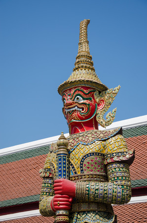 thaiart: The Red Demon in Thai-Art Style In The Temple of the Emerald Buddha (Wat Phra Kaew), Bangkok, Thailand.