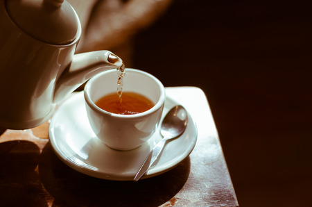 tea hot drink: The Time of Tea Break. Stock Photo