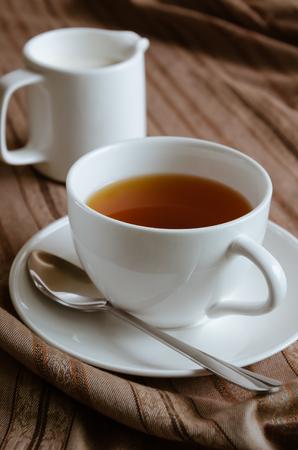 coffe break: Tea and Milk for Tea Break. Stock Photo